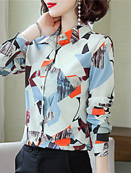 cheap -Women's Daily Work Basic / Chinoiserie Shirt - Color Block Print Rainbow