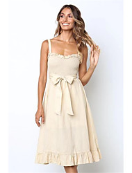 cheap -Women's Black Beige Dress Elegant A Line Solid Colored Strap Bow S M