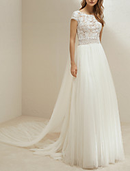 cheap -A-Line Jewel Neck Sweep / Brush Train Lace / Tulle Short Sleeve Wedding Dresses with 2020