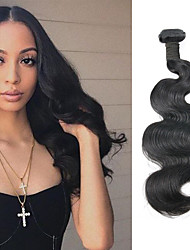 cheap -1 Bundle Brazilian Hair Wavy Virgin Human Hair Remy Human Hair Natural Color Hair Weaves / Hair Bulk 10  - 22 inch Natural Black Human Hair Weaves Best Quality 100% Virgin Unprocessed Human Hair