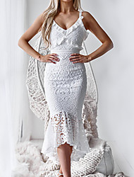 cheap -Women's Party Going out Sexy Asymmetrical Slim Trumpet / Mermaid Dress - Solid Colored Lace Ruffle Strap Summer White S M L XL