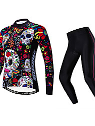 cheap -21Grams Sugar Skull Women's Long Sleeve Cycling Jersey with Tights - Black / Red Bike Clothing Suit Thermal / Warm Breathable Quick Dry Sports Winter Fleece Polyester Elastane Mountain Bike MTB Road