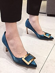 cheap -Women's Heels Stiletto Heel Pointed Toe Rivet Faux Leather Casual / Minimalism Spring &  Fall / Spring & Summer Black / Champagne / Blue