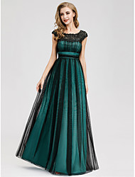 cheap -A-Line Jewel Neck Floor Length Polyester / Lace / Tulle Elegant Formal Evening Dress with Draping 2020