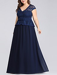 cheap -A-Line V Neck Floor Length Polyester Bridesmaid Dress with Lace