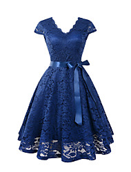 cheap -Women's Lace Dress - Short Sleeves Solid Color V Neck Wine Black Blushing Pink Navy Blue Beige S M L XL XXL