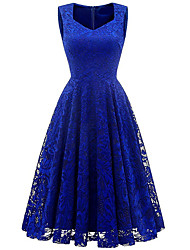 cheap -Women's Elegant Swing Dress - Solid Colored Wine Blushing Pink Blue S M L XL