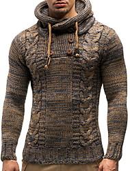 cheap -Men's Solid Colored Long Sleeve Pullover Sweater Jumper, Hooded Black / Camel US36 / UK36 / EU44 / US38 / UK38 / EU46 / US40 / UK40 / EU48