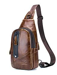 cheap -Men's Zipper Cowhide Sling Shoulder Bag Animal Black / Brown