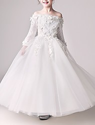 cheap -Ball Gown Floor Length Flower Girl Dress - Polyester 3/4 Length Sleeve Off Shoulder with Appliques