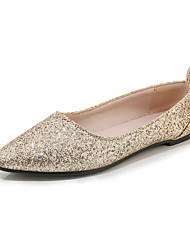 cheap -Women's Flats Flat Heel Pointed Toe Ribbon Tie Synthetics Vintage / Casual Summer Black / Gold / Silver
