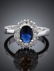 cheap -Women's Band Ring Ring Engagement Ring 1pc Blue Copper Rhinestone Silver Plated Round Geometric Vintage Fashion Party Daily Jewelry 3D Precious Cute Cool Lovely