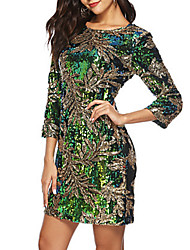 cheap -Women's Party Birthday Sophisticated Sheath Dress Sequins High Waist Crew Neck Fall Green L XL XXL