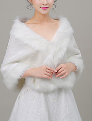 cheap -Sleeveless Capelets Faux Fur / Imitation Cashmere Wedding / Party / Evening Women's Wrap With Solid / Fur