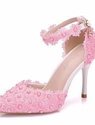 abordables -Femme Chaussures de mariage Talon Aiguille Bout pointu Polyuréthane Automne hiver Blanche / Rose / Mariage