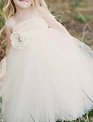 cheap -Ball Gown Floor Length Flower Girl Dress - Polyester Sleeveless Strapless with Trim
