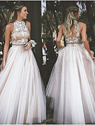 cheap -A-Line Halter Neck Floor Length Tulle Two Piece / Elegant Prom / Formal Evening Dress 2020 with Beading / Appliques by JUDY&JULIA