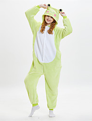 cheap -Adults' Kigurumi Pajamas Frog Onesie Pajamas Flannelette Green Cosplay For Men and Women Animal Sleepwear Cartoon Festival / Holiday Costumes