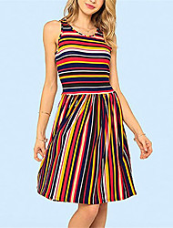 cheap -Women's Rainbow Dress A Line Striped S M