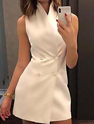cheap -Women's Stand Collar Vest White / Black / Purple S / M / L / Slim