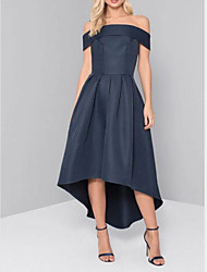 cheap -A-Line Off Shoulder Asymmetrical Satin Dress with Pleats by LAN TING Express