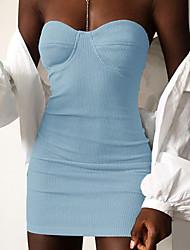 cheap -Women's Bodycon Dress - Solid Colored White Blue S M L