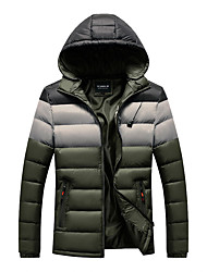 cheap -Men's Daily / Beach Winter Regular Coat, Color Block Hooded Long Sleeve Polyester Black / Wine / Army Green