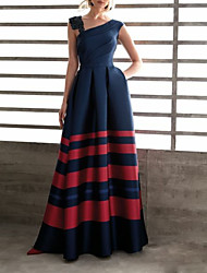 cheap -A-Line Y Neck Floor Length Satin Dress with Beading / Appliques / Ruched by LAN TING Express