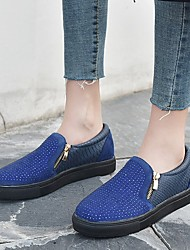 cheap -Women's Sneakers Flat Heel Round Toe Sparkling Glitter Suede / PU Vintage / Casual Spring &  Fall / Spring & Summer Black / White / Blue / Color Block
