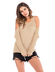 cheap -Women's Solid Colored Long Sleeve Pullover Sweater Jumper, V Neck Spring / Fall Red / Khaki M / L / XL