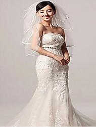 Недорогие -Четыре слоя Стиль / Любовь Свадебные вуали Фата до локтя с Однотонные 27,56 В (70 см) Тюль / Прямая