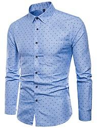 cheap -Men's Polka Dot Shirt Daily Blushing Pink / Light Blue / Long Sleeve