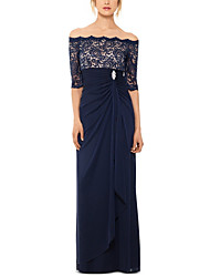 cheap -Sheath / Column Elegant Prom Formal Evening Dress Off Shoulder Half Sleeve Floor Length Chiffon with Ruched Lace Insert Crystal Brooch 2020