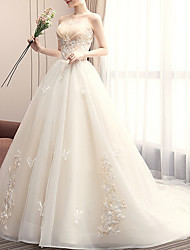 cheap -A-Line Strapless Court Train Lace Strapless Made-To-Measure Wedding Dresses with Appliques / Lace Insert 2020