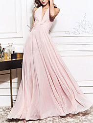 cheap -A-Line Open Back Prom Formal Evening Dress Halter Neck Sleeveless Sweep / Brush Train Chiffon with Ruched 2020