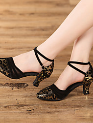 cheap -Women's Dance Shoes Modern Shoes / Ballroom Shoes / Line Dance Heel Leopard / Animal Print Cuban Heel Leopard / Black / Silver / Performance / Satin / Practice