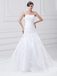 cheap -Mermaid / Trumpet Wedding Dresses One Shoulder Chapel Train Lace Organza Satin Spaghetti Strap with Ruched Beading Appliques 2021