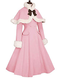 cheap -Princess Sweet Lolita Fur Trim Girly Winter Cape Coat Women's Girls' Japanese Cosplay Costumes Red / Pink / Fuchsia Solid Colored Long Sleeve Knee Length / Cloak / Cloak