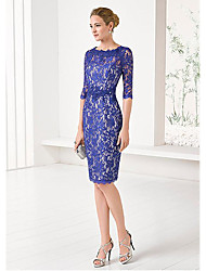 cheap -Sheath / Column Mother of the Bride Dress Plus Size Jewel Neck Knee Length Lace Satin Half Sleeve with Lace 2020