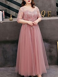 cheap -A-Line Jewel Neck Floor Length Tulle Bridesmaid Dress with Appliques / Open Back
