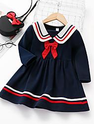 cheap -Kids Girls' Basic Striped Solid Colored Long Sleeve Knee-length Dress Royal Blue