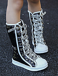 cheap -Girls' Comfort / Novelty Synthetics Boots Little Kids(4-7ys) / Big Kids(7years +) Rivet Black / White Spring / Winter / Mid-Calf Boots / Party & Evening / Color Block