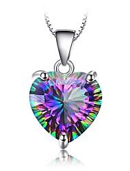 Недорогие -2020 новый bague ringen серебряные ювелирные ожерелья для женщин черный топаз сердце кулон ключицы цепи в форме сердца цветные драгоценный камень