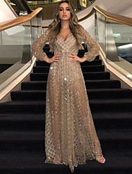 cheap -Women's Swing Dress Maxi long Dress Black Gold Long Sleeve Solid Color Backless Sequins Mesh Fall Spring V Neck Sexy Party Slim 2021 S M L XL XXL