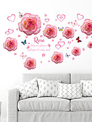 cheap -SK7175 creative personality pink heart shaped rose sticker bedroom living room background decoration removable sticker