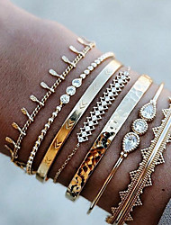 cheap -7pcs Women's Crystal Bracelet Bangles Cuff Bracelet Bracelet Beaded Layered Classic Drop Wave Arrow Statement Luxury Punk European Fashion Rhinestone Bracelet Jewelry Gold For Party Gift Carnival