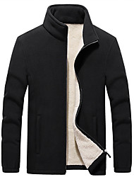 cheap -Men's Daily Fall & Winter Regular Jacket, Solid Colored Stand Long Sleeve Polyester Black / Blue / Red