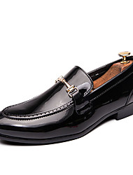 cheap -Men's Formal Shoes Patent Leather Spring & Summer / Fall & Winter Casual / British Loafers & Slip-Ons Wear Proof Booties / Ankle Boots Black / Wine