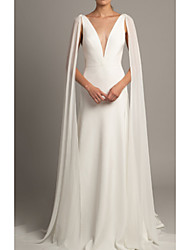 cheap -A-Line V Neck Court Train Tulle / Stretch Satin Regular Straps Cape Wedding Dresses with Ruched 2020