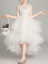 cheap -A-Line Asymmetrical Pageant Flower Girl Dresses - Tulle Sleeveless Jewel Neck with Tier / Appliques / Crystals / Rhinestones
